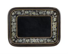 A Victorian papier mache tray retailed by William Whitely