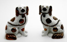 A pair of Staffordshire models of spaniels