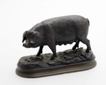 Manner of Pierre Jules Mene- patinated metal pig