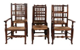 A harlequin set of six spindle back dining chairs