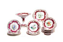 A Ridgway porcelain claret-ground and gilt part dessert service