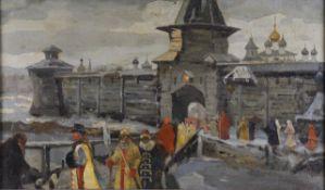 Russian School 20th century), Boyars in front of a Kremlin