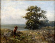 Late 19th century English school, Shepherd with dog and flock