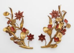 A pair of gilt and red painted tole single-branch wall-lights