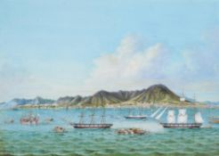 A Chinese gouache painting of the view of Hong Kong