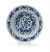 A Chinese blue and white 'Dragon' basin