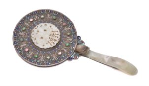 A Chinese silver filigree and enamel 'Shou' Mirror