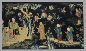 A fine and large Chinese silk embroidered 'Immortals' panel