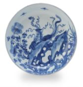 A Chinese blue and white 'Phoenix' dish