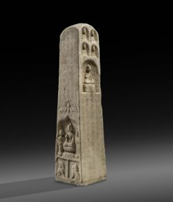 A large and rare Chinese marble Buddhist stele
