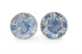 Two Chinese porcelain blue and white Kraak saucers