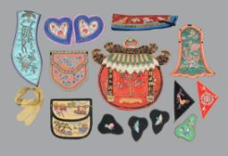 A group of Chinese purses and accessories