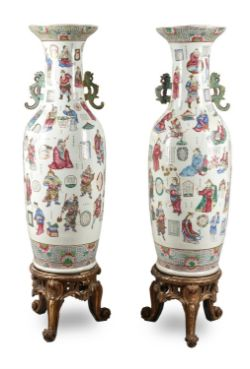 A very large pair of Chinese Famille Rose 'Wu Shang Pu' vases