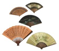 Five Chinese foldable fans
