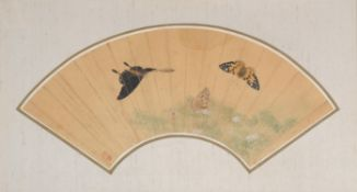 A Chinese framed fan painting
