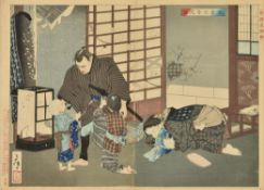 "Tsukioka Yoshitoshi: A woodblock printed diptych in ink on paper entitled ""The story of Sakura Sogo"""