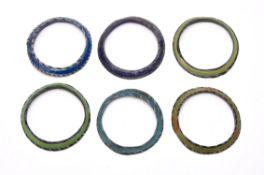 Six Islamic glass bangles