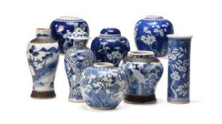 Three Chinese blue and white 'Prunus' ginger jars