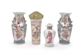 A pair of Chinese famille rose hexagonal vases