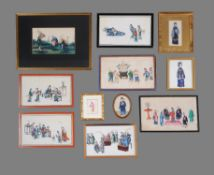 A group of nineteen Chinese export pith paper paintings