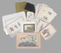 A group of approximately eighty-six Chinese export pith paper paintings and one bodhi leaf painting