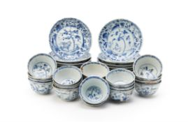 Twenty-two Chinese blue and white Ca Mau shipwreck 'Fallow deer' pattern blue and white tea bowls an