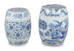 Two Chinese blue and white garden stools