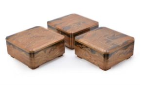 Three Japanese Lacquer Boxes and Covers