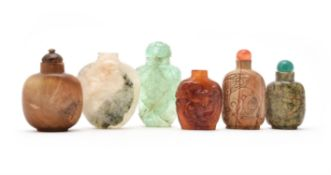 Six Chinese hardstone snuff bottles