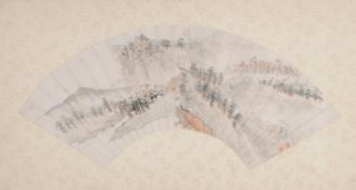 A Chinese painted fan leaf