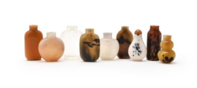 A group of nine Chinese glass snuff bottles