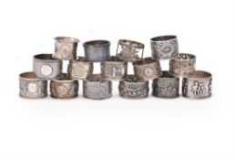 A collection of ten Chinese export silver napkin rings
