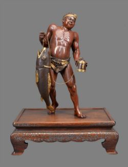 Miya-O Eisuke: A Large Parcel Gilt Bronze Figure of a Fisherman