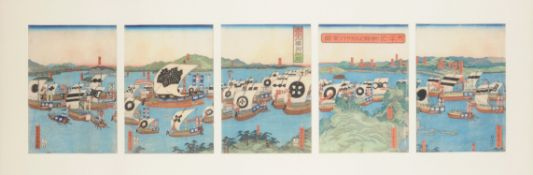 Utagawa Sadahide (1807-1873): An unusual woodblock printed pentaptych in inks on paper depicting the