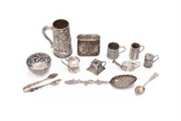 A collection of twelve Chinese export silver items