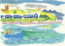 Alan Furneaux, St. Ives Train @ Hayle Cornwall (plein air), 2020