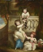 Daniel Gardner (British 1750-1805), Group portrait of three children playing at a balcony