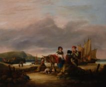 Attributed to William Shayer Snr. (British 1787-1879) , Figures and donkey by the shore