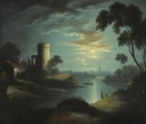 Manner of Sebastian Pether, Moonlit river landscape