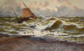 Thomas Rose Miles (British fl. 1869-1910) , Stormy-Morning, Deal, Signals of Distress in the Offing