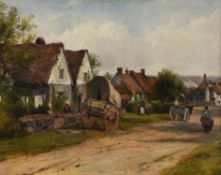 Frederick Waters Watts (British 1800-1862) , Cart outside a country cottage, village scene beyond