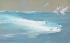Arthur Wardle (British 1864-1949), Two polar bears swimming with seagulls above