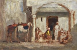 Jules Jacques Veyrassat (French 1828-1893), Horses and figures resting outside an inn, a study