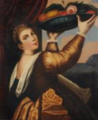 Manner of Pedro Campana, Portrait of a woman carrying a bowl of fruit and flowers