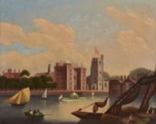 English School (19th century), Lambeth Palace from the River