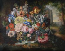 French School (19th century), Still life of flowers in a basket with a chateaux beyond
