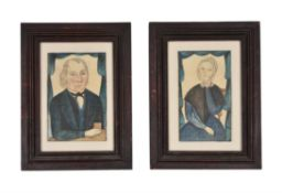 Attributed to Thomas Skynner (fl. 1840-1852), Portraits of Philip Malory and his wife