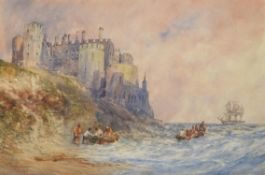 William Callow (British 1812-1908) , Coastal scene with Bamborough Castle in the distance