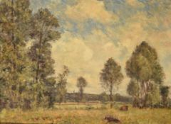 James Charles (British 1851-1906) Cows in a meadow landscapeOil on canvasSigned lower left43 x 5