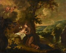 Italian School (late 17th century), Saint Anthony with the Christ child in extensive landscape